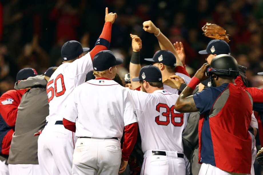 Game 6: Red Sox 6, Cardinals 1  Red Sox win World Series 4 games to 2  The Red Sox celebrate after defeating the Cardinals. Photo: Elsa, Getty Images