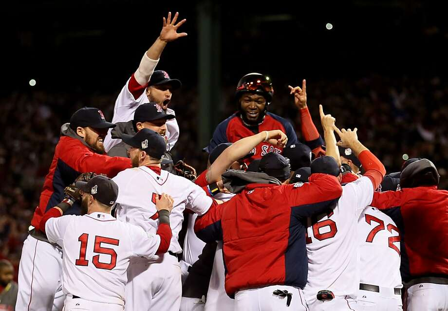BOSTON, MA - OCTOBER 30:  The Boston Red Sox celebrate after defeating the St. Louis Cardinals in Game Six of the 2013 World Series at Fenway Park on October 30, 2013 in Boston, Massachusetts. The Boston Red Sox defeated the St. Louis Cardinals 6-1.  (Photo by Rob Carr/Getty Images) Photo: Rob Carr, Getty Images