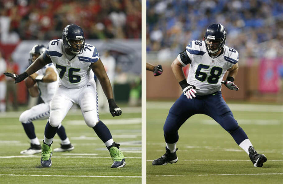 "Q: Where are tackles Russell Okung and Breno Giacomini in their recoveries?  PC: ""Matter of fact they are out there playing real strict attention to what's going on. Because Russell (pictured left) has a chance to come back -- I believe it's Friday -- for the first time, and Breno (pictured right) is chomping at the bit, he's getting really close. Russell he's got a process to get through, but I think the first day that he can practice is Friday. Breno is really day-to-day right now; I would think by next week he'll be pretty active in what's going on. So we'll see what that means. I can't project it, but I think that's what we're looking forward to."" Photo: Both Photos: Joe Robbins, Getty Images"