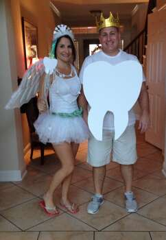 Dianne as the tooth fairy and Lou as the crowned tooth.