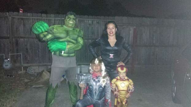 In the photo is me Joseph sr the hulk my wife linda the black widow, my son Joseph Jr is Thor and my baby boy Arian is Iron Man.. I thought it would be a great idea for us to be the Avenger's and it turned out great! Please pick us it would be awesome! Thanks. 