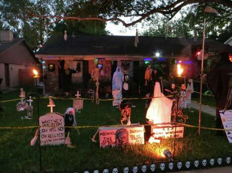 "Every year we have a haunted house for the neighborhood kids complete with monsters in the yard, animated monsters, black lights, fog machines, strobe light and a hologram that projects ghosts above the coffin at our front door. Some of the monsters are stationery in the yard while others ""come to life"" and chase kids around. My husband and I were married on Halloween and this year is our 25th anniversary. Maybe ya'll can come by to get a peek - we'll have candy galore and snacks for the friends who gather each year in our driveway to watch us scare.