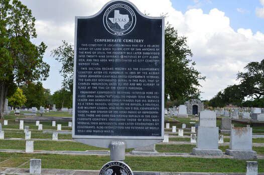 The Confederate Cemetery - The East Side cemetery complex was established in 1853 on 20 acres of what was known as Powder House Hill, so named because the Spanish military was said to have stored gunpowder there. Source: Paula Allen / San Antonio Express-News Photo: Cinde Ramirez/ MySanAntonio.com
