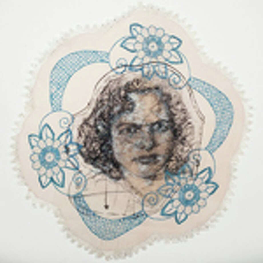 Beth Secor's Sudden Appearance in Places Unknown, made in 2013, uses found embroidered linens with drawing and embroidery. Photo: Photo By Lawndale Art Center