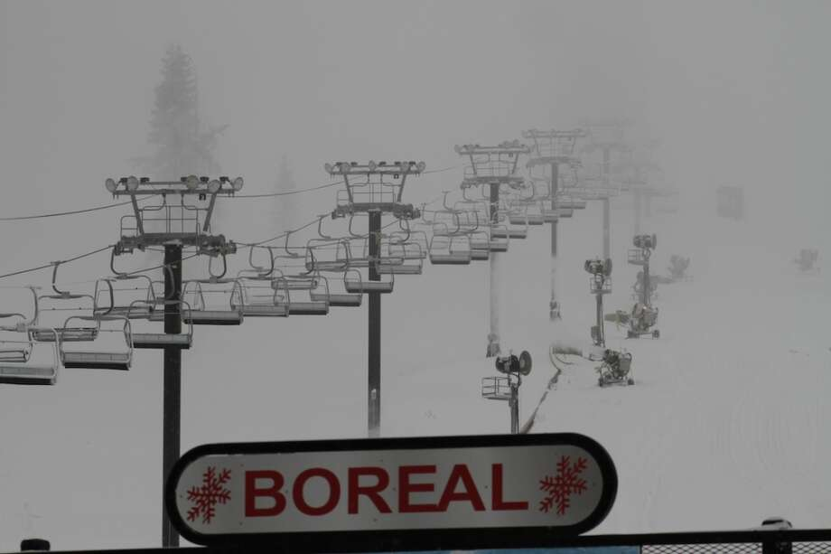 A snowy ski lift at Boreal. Photo: Matt Peterson, Courtesy