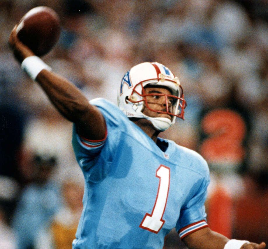 Warren Moon, Houston Oilers (1984-93)After a Hall of Fame career in the CFL, Moon played 10 of his 17 NFL seasons in Houston, where he had 33,685 of his NFL career 49,325 yards and 196 of his 291 TDs. He's in the Pro Football Hall of Fame, even though his career record as a starter was a mere 102-101 (70-69 in Houston). Photo: Dave Einsel, Houston Chronicle / Houston Chronicle
