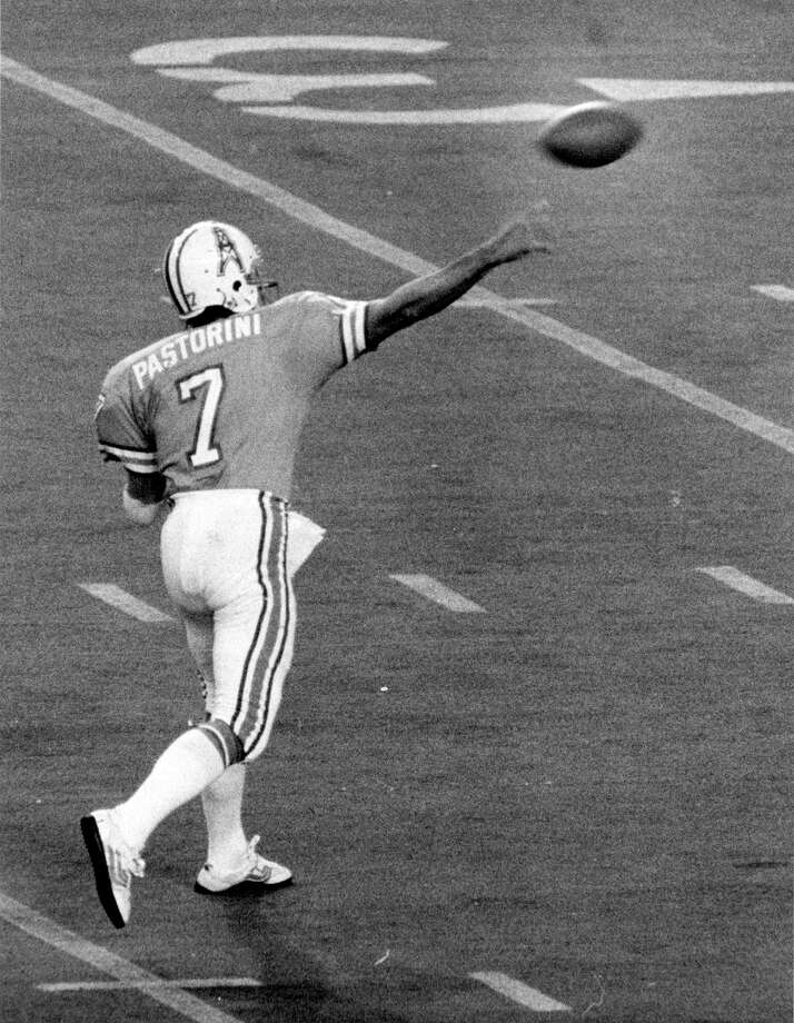 Dan Pastorini, Houston Oilers (1971-79) Dante played for some of the Oilers' worst teams in the early 1970s and for some of the best during the Luv Ya Blue era, three times leading them to 10-win seasons and twice taking them to the AFC championship game against the Steelers. He had 16,694 passing yards and 96 TDs with the Oilers. Photo: George Honeycutt, Houston Chronicle / Houston Chronicle