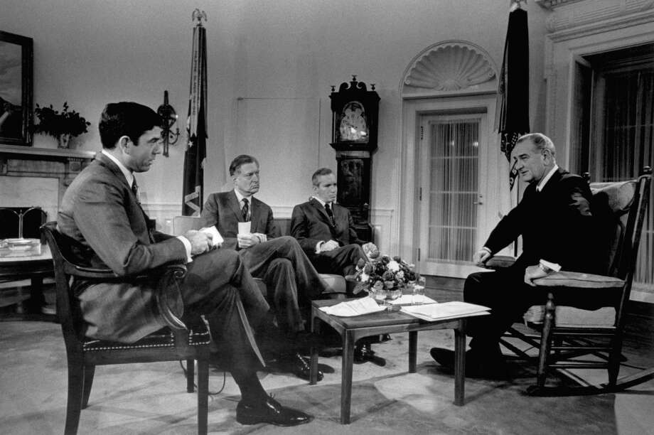 CBS News' Dan Rather, NBC News' Ray Shearer, ABC News' Frank Reynolds, President Lyndon B. Johnson during a press conference in the Oval Office of the White House on December 19, 1967 Photo: NBC NewsWire, NBC NewsWire Via Getty Images