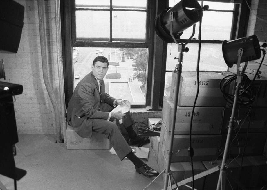 Dan Rather In Dallas, Texas at The Texas School Book Depository building. Image dated June 11, 1967. Photo: CBS Photo Archive, CBS Via Getty Images
