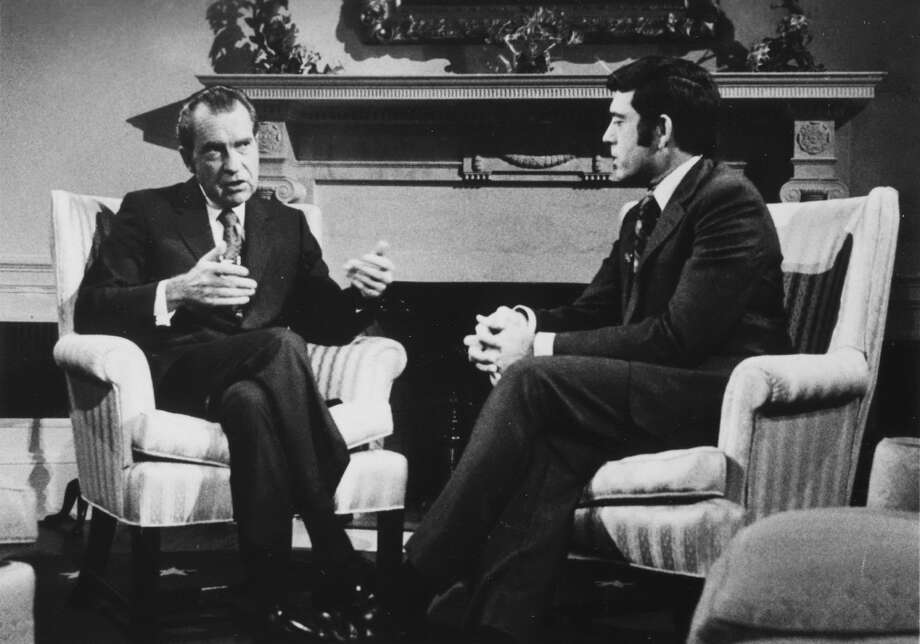 Dan Rather interviews President Richard M. Nixon for a CBS News Special Report January 2, 1972. Photo: CBS Photo Archive, CBS Via Getty Images