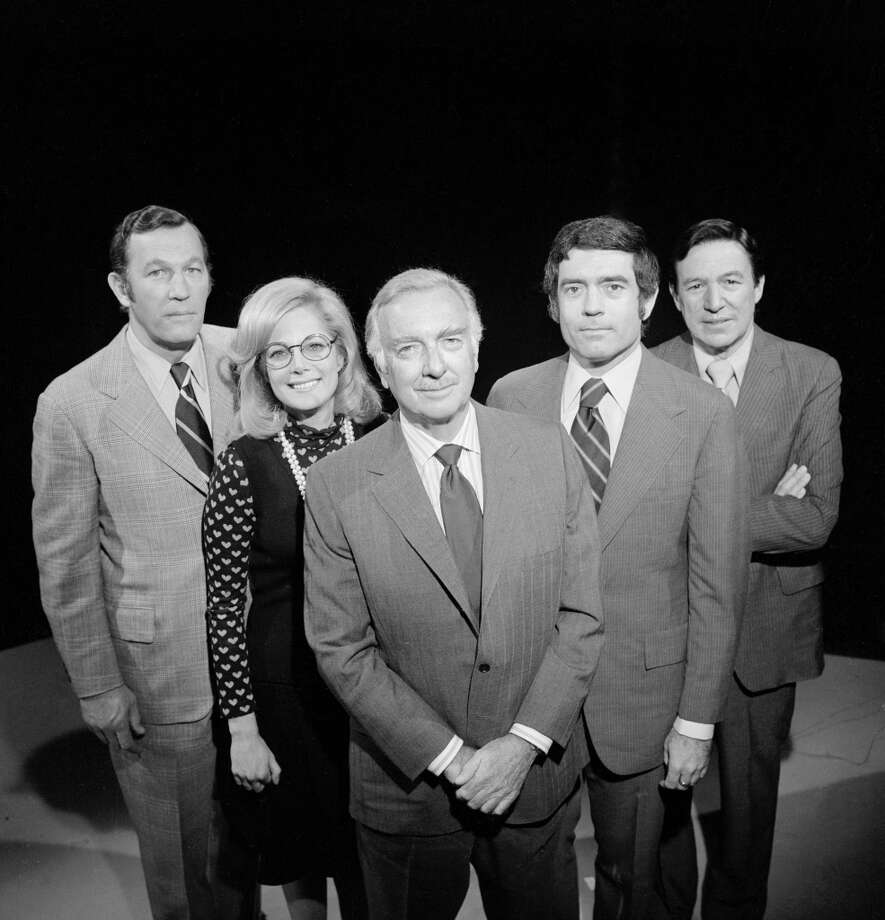 News anchor Walter Cronkite and his Election Night '74 team taken October 8, 1974.  From left: Roger Mudd, Lesley Stahl, Cronkite, Dan Rather, and Mike Wallace. Photo: CBS Photo Archive, CBS Via Getty Images