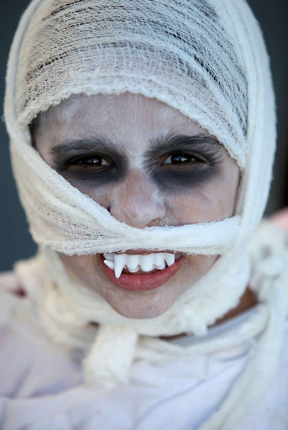 Qais Dudum, 6, a first grader, dressed up as a mummy for the annual halloween parade at Francis Scott Key Elementary School in San Francisco, Calif., Thursday, October 31, 2013.