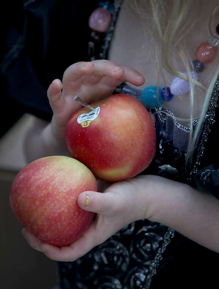 Nona Taylor, 4, hands out organic apples to students as they march in the annual halloween parade at Francis Scott Key Elementary School in San Francisco, Calif., Thursday, October 31, 2013. Nona was volunteering with her mother to hand out goodies to the students. Photo: Judy Walgren, SFC