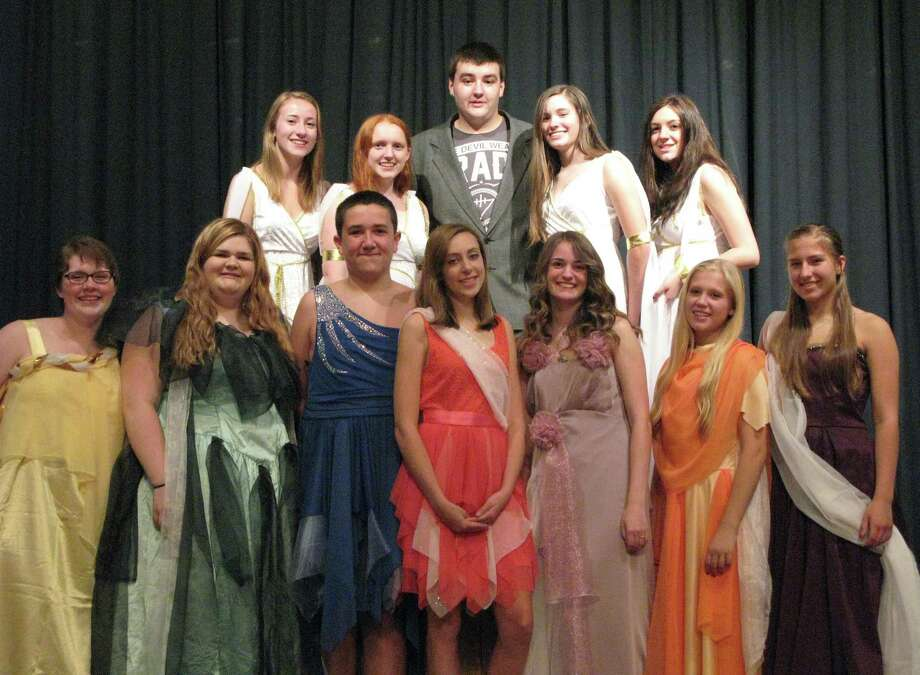 "The cast of the Stillwater High School Drama Club's ""Xanadu"" includes, from left, front row, Reba Mulderry, Madelyn Bryant, Tommy Coffinger, Summer Sheehan, Alyssa Quick, Nicole Collette and Carly Jones, and, back row, Beth Laquidara, Shelby Nair, Jesse Hayner, Anna Chichester, Macy Lambert. (Also in cast but not pictured is Peter Laquidara.)"