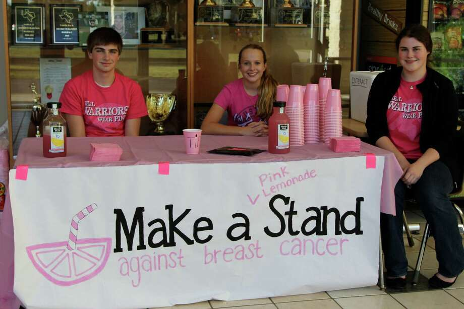 A lemonade stand also helped raise money for breast cancer research. Photo: The Woodlands Christian Academy Photo
