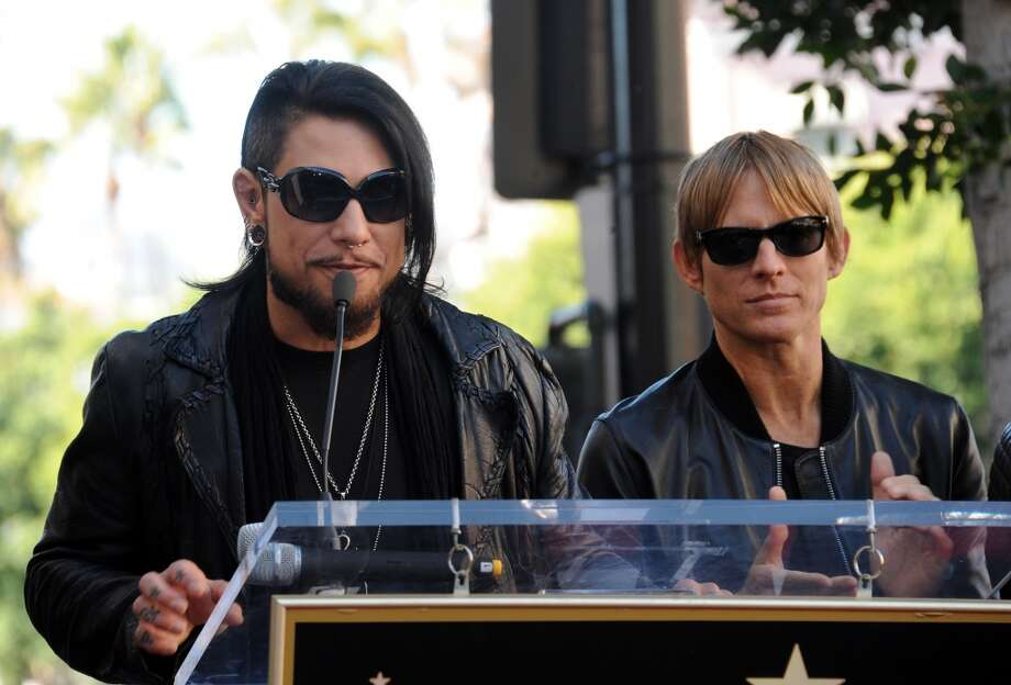 Guitarist Dave Navarro and bassist Chris Chaney at Jane's Addiction Star On The Hollywood Walk Of Fame Ceremoney on October 30, 2013 in Hollywood, California.  (Photo by Albert L. Ortega/Getty Images) Photo: Albert L. Ortega, Getty Images