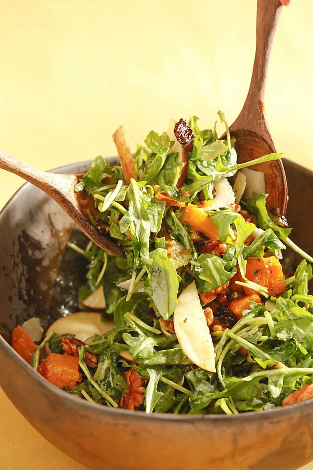 Roasted butternut squash, russels sprouts, arugula salad as seen in San Francisco, California, on October 30, 2013. Food styled by Amanda Gold.