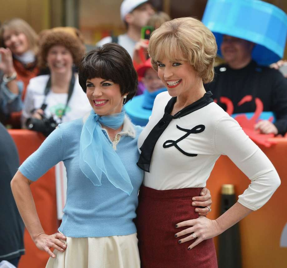 """Natalie Morales (L) and Savannah Guthrie attend NBC's """"Today"""" Halloween 2013 in Rockefeller Plaza on October 31, 2013 in New York City.  (Photo by Slaven Vlasic/Getty Images) Photo: Slaven Vlasic, Getty Images"""