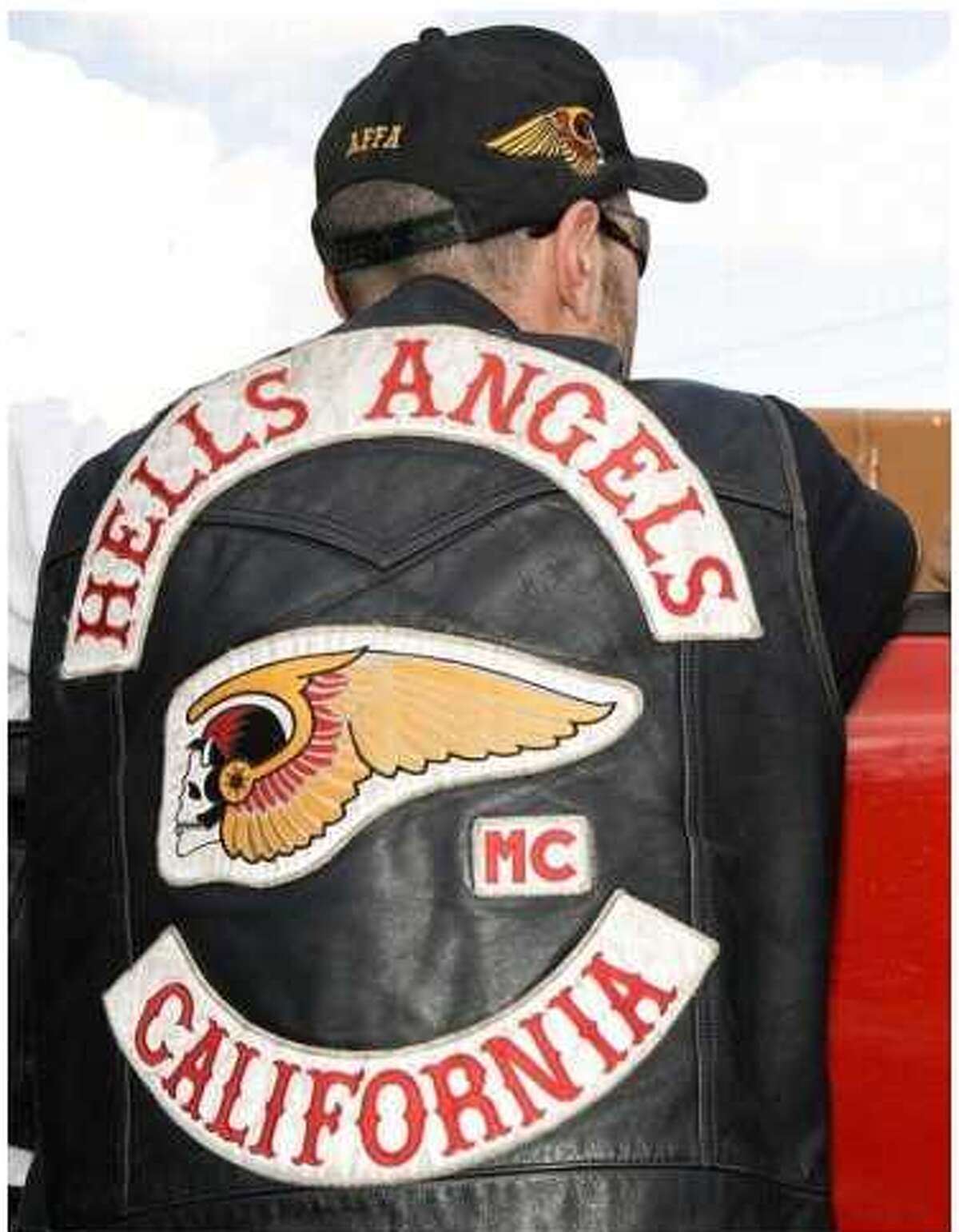 This jacket shows the Death Head symbol that's the basis of a federal lawsuit by Hells Angels against 8732 Apparel and Dillard's.