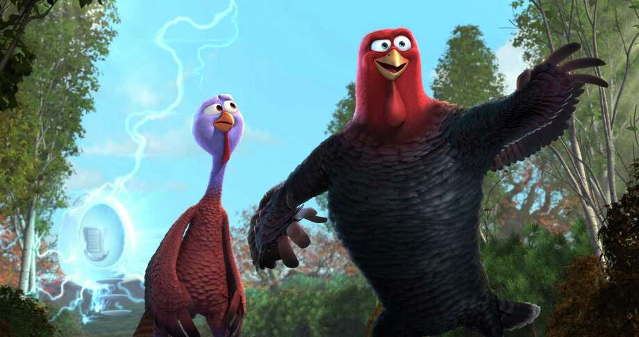 "Reggie (voiced by Owen Wilson, left) and Jake (voiced by Woody Harrelson) are on a mission to save turkeys from the Thanksgiving table in ""Free Birds."" Photo: Turkey's Films, LLC / © 2013 Turkey's Films, LLC. All Rights Reserved."