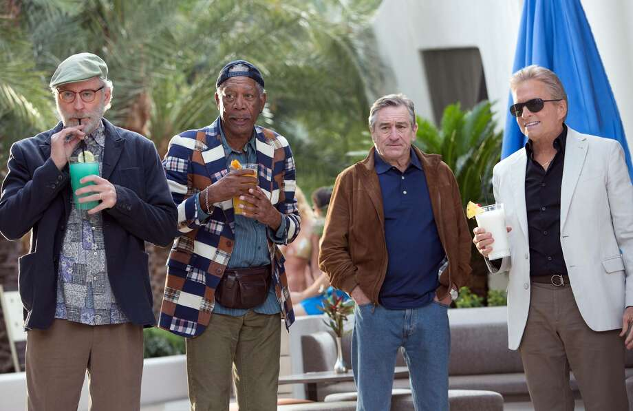 "Kevin Kline, from left, Morgan Freeman, Robert De Niro and Michael Douglas star in ""Last Vegas,"" the first film in which any of the Oscar winners worked together. They play childhood pals who reunite for a bachelor party. Photo: CBS Films"