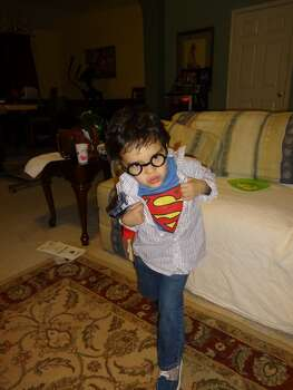 My son Jake, as Clark Kent/Superman. 