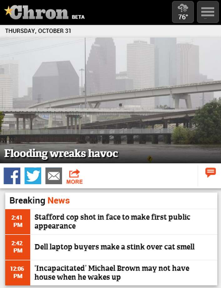 Chron.com mobile website homepage / Screenshots taken Oct. 31, 2013 Photo: Chron.com