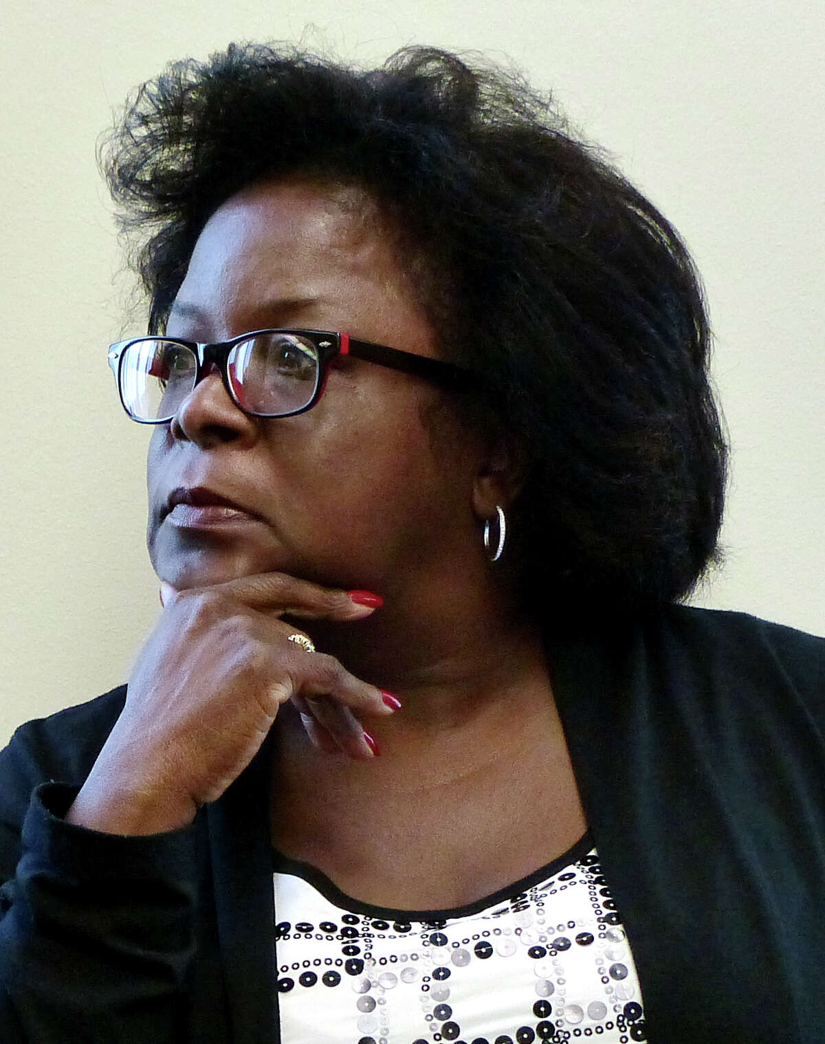 Tisdale School principal Carmen Perez Dickson attends a Bridgeport Board of Education disciplinary hearing against her at Bridgeport City Hall in Bridgeport, Conn. on Tuesday June 11, 2013.