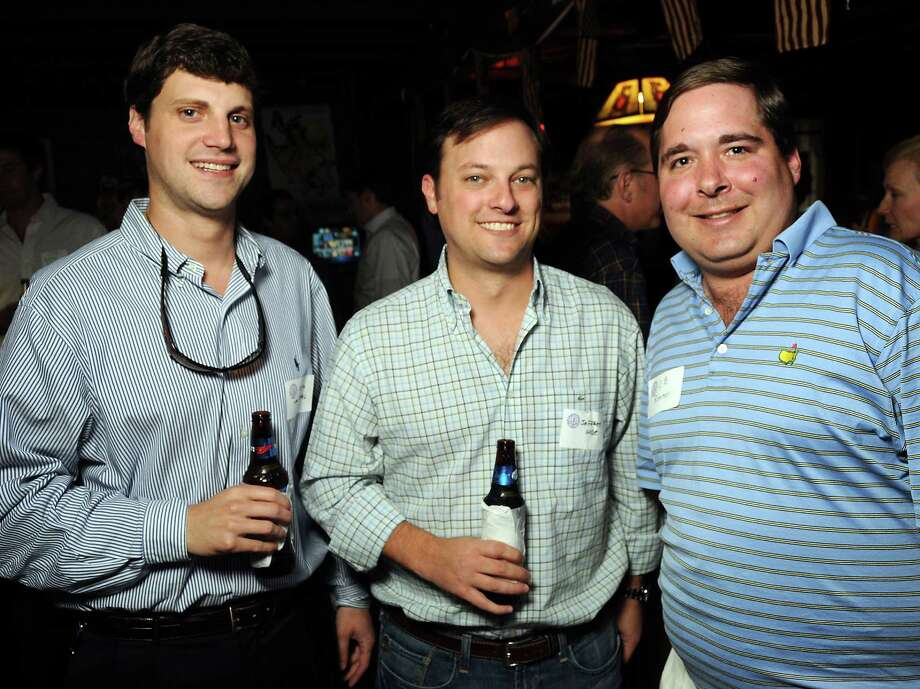 From left: Justin Van Keppel, Jeffrey Wise and L.B. Roemer at a party for former Kinkaid and St. John students at Blanco's Wednesday Oct. 23,2013.  (Dave Rossman photo) Photo: Dave Rossman, For The Houston Chronicle / © 2013 Dave Rossman
