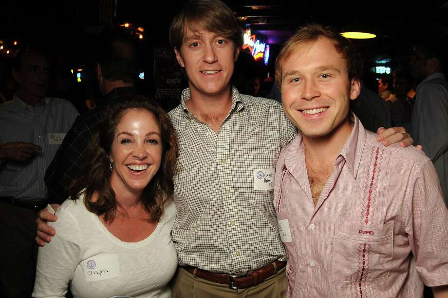From left: Shayna Andrews, Chuck Helms and Pierce Bush at a party for former Kinkaid and St. John students at Blanco's Wednesday Oct. 23,2013.  (Dave Rossman photo) Photo: Dave Rossman, For The Houston Chronicle / © 2013 Dave Rossman