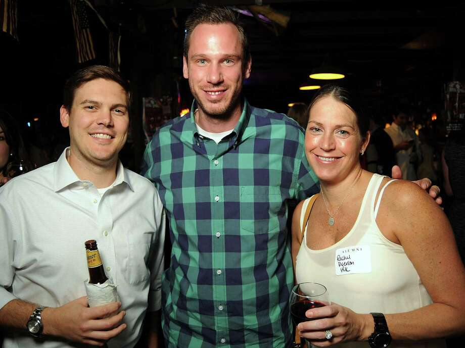 From left: Christian Triantophyllis with Chris and Rachel Huk at a party for former Kinkaid and St. John students at Blanco's Wednesday Oct. 23,2013.  (Dave Rossman photo) Photo: Dave Rossman, For The Houston Chronicle / © 2013 Dave Rossman