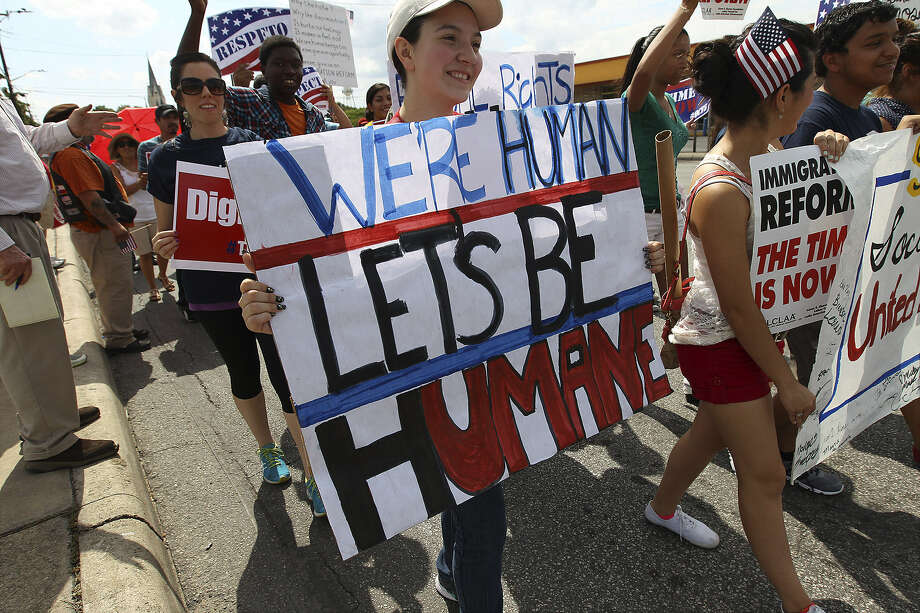 Immigration reform supporters march  at Elmendorf Park in early October. The issue has faded in Washington, and the GOP doesn't seem to be as enthusiastic about it as when Florida Sen. Marco Rubio and allies unveiled a Republican version of immigration reform earlier this year. Photo: Kin Man Hui / San Antonio Express-News