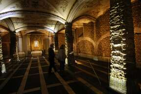 """Inside the 16th century Church of St. Francis in Evora, Portugal, is the """"Capela dos ossos"""" (Chapel of Bones), created by the monks supposedly from 5,000 corpses."""