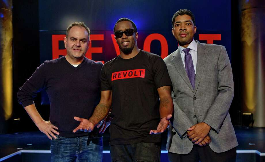 "Andy Schuon (left) credits S.A. radio as his career springboard. He recently collaborated with superstar and chair of the channel Sean ""Diddy"" Combs (center) on Revolt TV Photo: Courtesy Photo"