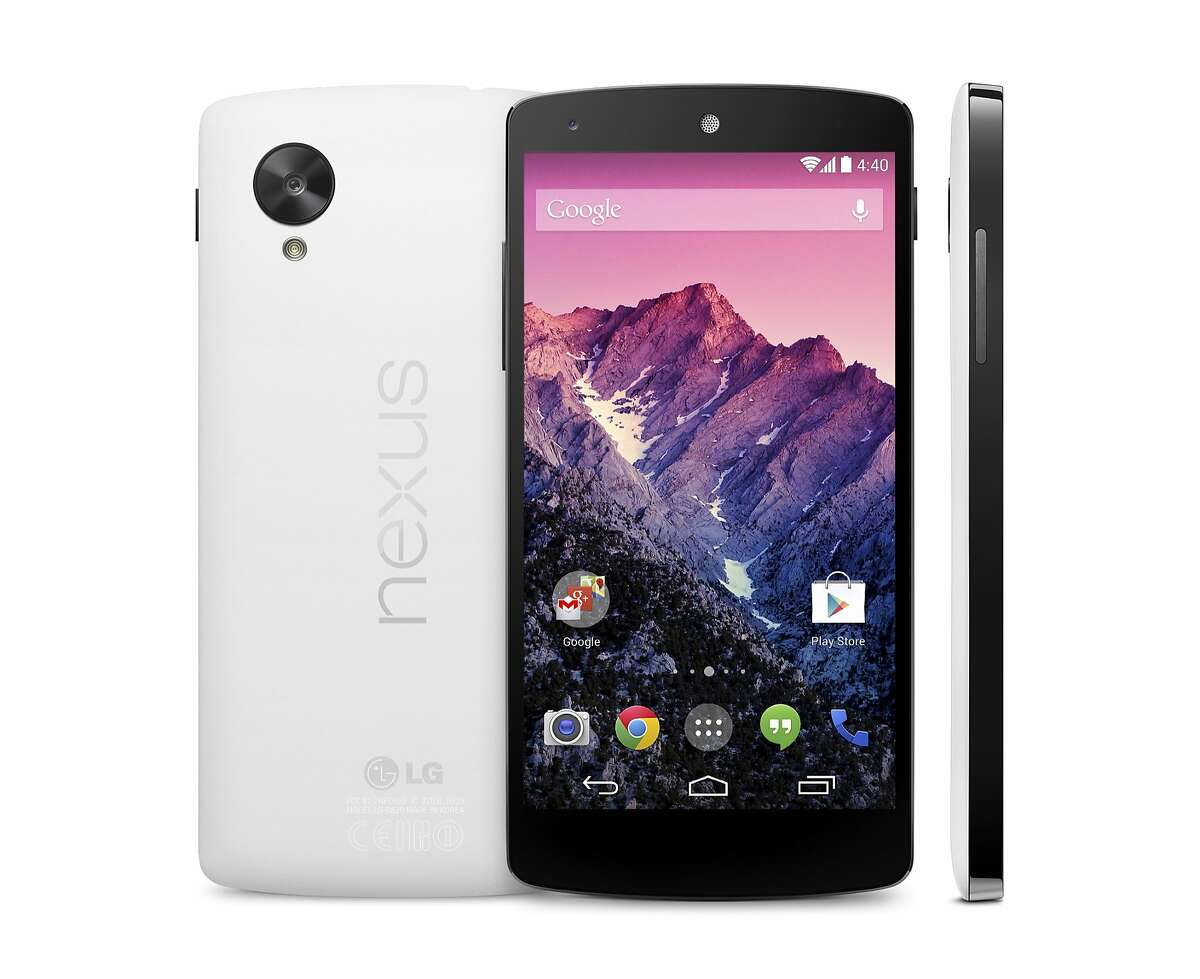 This image provided by Google shows its new Nexus 5 phone, which was unveiled Thursday, Oct. 31, 2013. The Nexus 5 phone is the first device to run on the latest version of Google's Android operating system, nicknamed after the Kit Kat candy bar. The phone and software are designed to learn and anticipate a person's interest and needs. (AP Photo/Google)
