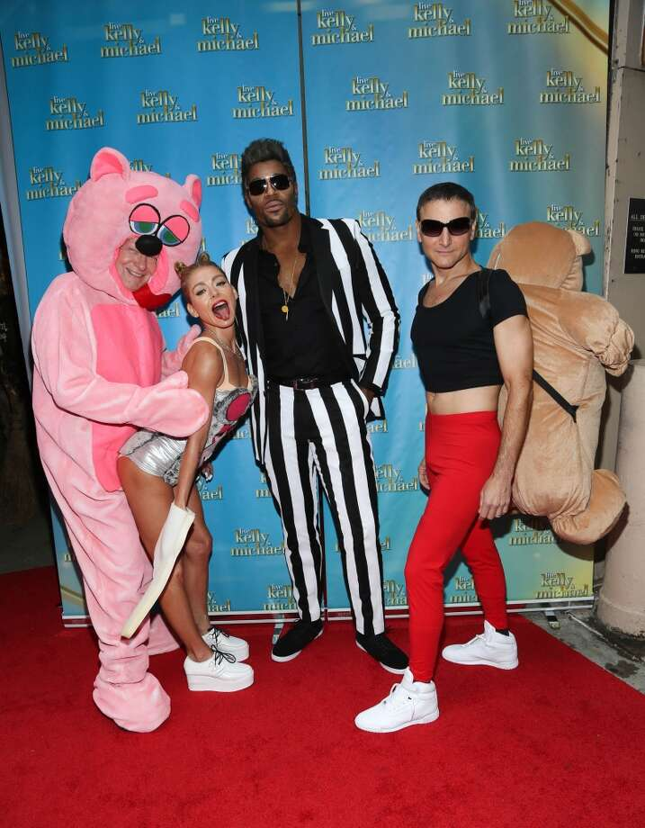 """(L-R) Art Moore, Kelly Ripa, Michael Strahan and Michael Gelman attend """"LIVE With Kelly and Michael"""": Best Halloween Show Ever at Live with Kelly And Michael Studio on October 31, 2013 in New York City.  (Photo by Rob Kim/Getty Images) Photo: Rob Kim, Getty Images"""