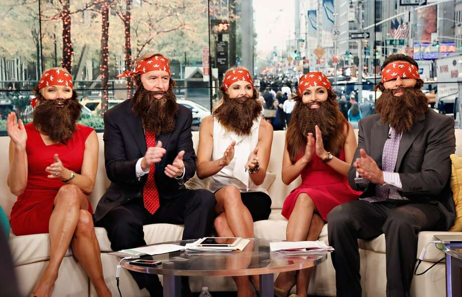 "Hosts Heather Childers, Steve Doocy, Elisabeth Hasselbeck, Brian Kilmeade and Maria Molina wear 'Duck Dynasty' costumes as ""FOX & Friends"" celebrates Halloween at FOX Studios on October 31, 2013 in New York City.  (Photo by Cindy Ord/Getty Images) Photo: Cindy Ord, Getty Images"