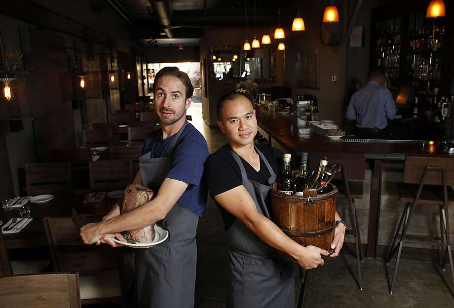 Benjamin Coe and James Syhabout offer take a tavern-like approach at the new Box and Bells in Oakland's Rockridge. Photo: Lacy Atkins, The Chronicle