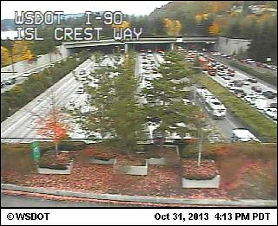 This shot from a Department of Transportation camera depicts standstill traffic headed east on Interstate 90 on Mercer Island. (WSDOT)