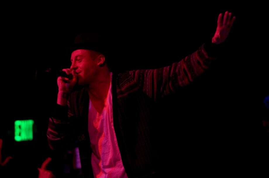 Seattle hip-hop artist Macklemore and his DJ Ryan Lewis performing at Showbox at the Market on March 28, 2010 before Blue Scholars. Photo: Humberto Martinez