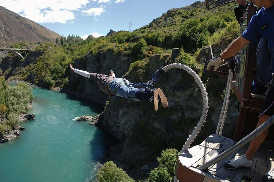 The oldest commercial bungee jumping site turns 25 this month, according to AJ Hackett Bungy, which started the springy activity at Queenstown's 154-foot-high Kawarau Bridge in 1988. Photo: AJ Hackett, Bungy New Zealand