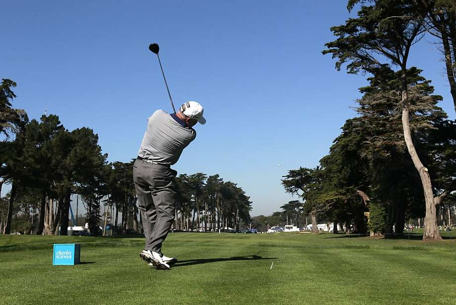 Mark O' Meara with his tee shot on the sixteenth hole during round 1 of the Champions Tour Charles Schwab Cup Championship at TPC Harding Park  in San Francisco, Calif. on Thursday Oct. 31, 2013. Photo: Michael Macor, The Chronicle