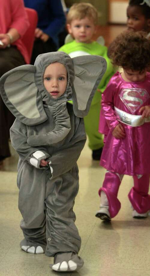 Two year-old Adam Bucher in an elephant costume leads his classmates in there parade of costumes. Photo: Billy Smith II, Chronicle / © 2013 Houston Chronicle