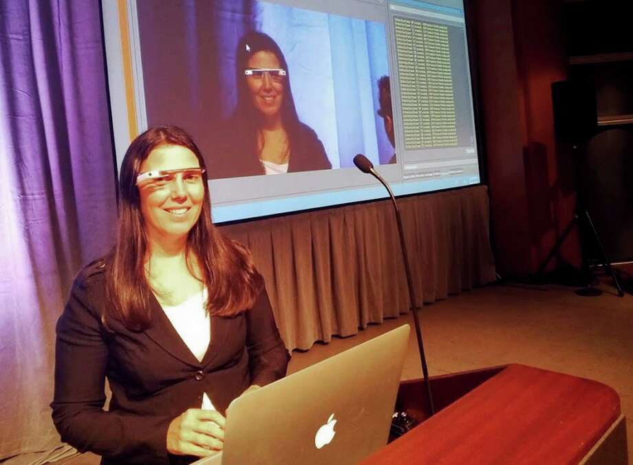 This photo provided by Cecilia Abadie shows her wearing her Google Glass. She got a citation usually given to drivers distracted by television screens. Photo: HONS / Courtesy Cecilia Abadie