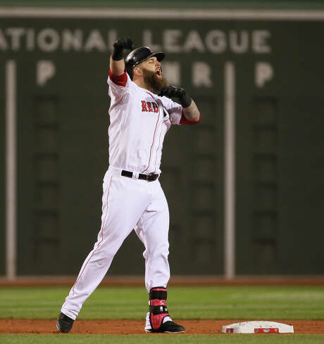 The Red Sox made Mike Napoli a key acquisition last winter and will have a decision to make in the coming months on the free agent-to-be. Photo: Chris Lee, MBO / St. Louis Post-Dispatch