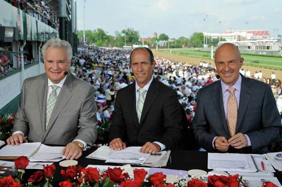 THE KENTUCKY DERBY -- Pictured: Crew with NBC Sports commentator Tom Hammond, analyst Randy Moss, and three-time Kentucky Derby winner Gary Stevens at the finish line set. -- Photo by: (Courtesy NBC Sports Group) ORG XMIT: Season: 2012 Photo: NBC / 2012  NBCUniversal Media, LLC