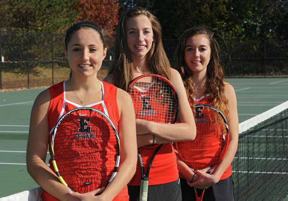 From left, Emma Willard tennis players Claire Schmitz and doubles partners Kailin Baechle and Samantha Bond on Tuesday, Oct. 29, 2013 in Troy, N.Y.  (Lori Van Buren / Times Union) Photo: Lori Van Buren / 00024426A