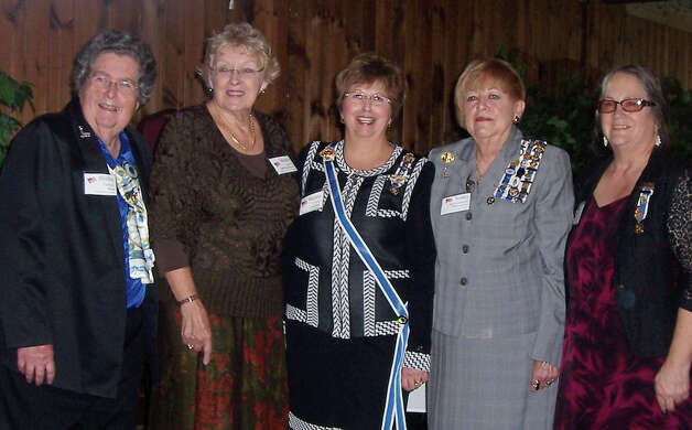 Attending the Daughters of the American Revolution's Capital District Round Table held at Ogdensburg recently were, left to right, Nihanawate Regent Shirley Gardner, CDRT President Margie Laurie of the Hendrick Hudson Chapter in Hudson, New York State Regent Martha Crapser, CDRT Secretary Nancy Rodenmacher and Swe-kat-si Regent Sally W. Hartman.