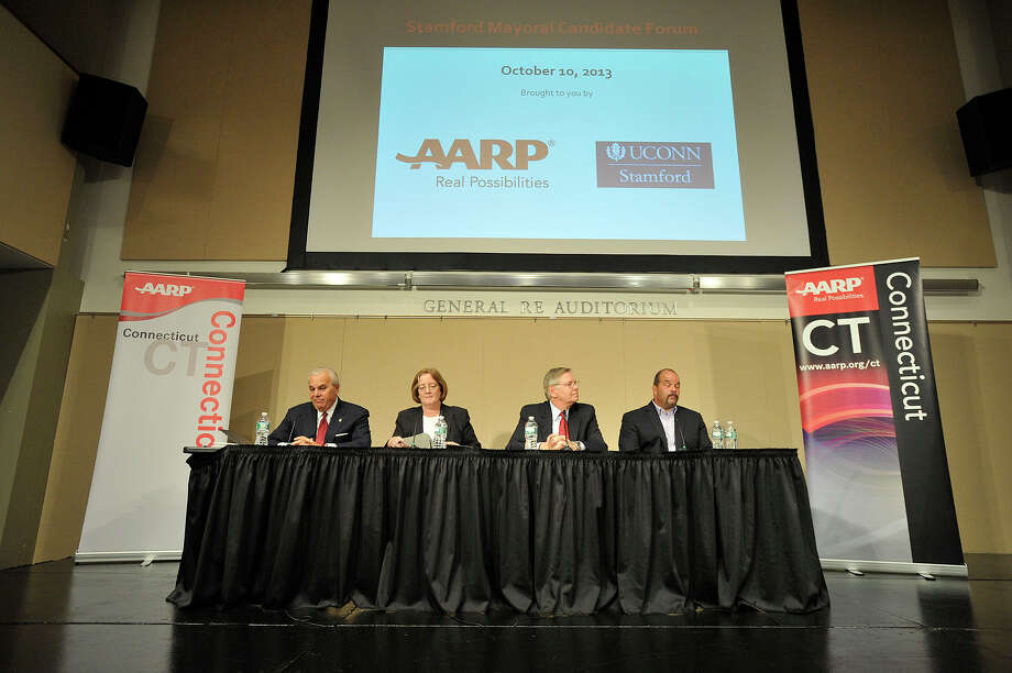 Mayoral candidates from left Michael Fedele, Kathleen Murphy, David Martin and John Zito take part in the the AARP / UConn Stamford Mayoral Candidate Forum at UConn-Stamford on Thursday, Oct. 10, 2013. The theme for the forum was Livable Communities, Good for All Ages. Photo: Jason Rearick / Stamford Advocate