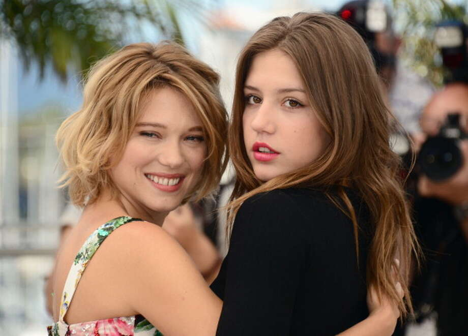Actresses Lea Seydoux and Adele Exarchopoulos attend the photocall for BLUE IS THE WARMEST COLOR at Cannes, in May. Photo: Dominique Charriau, WireImage